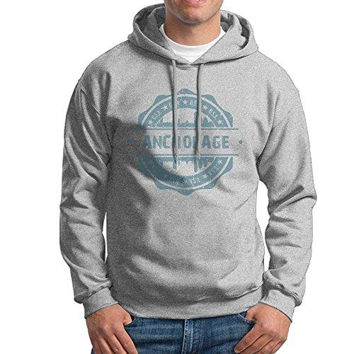 Men's Anchorage Alaska Hoodies Hooded Sweatshirt Pullover Sweater, Crew Neck Hooded Costumes Kit ()