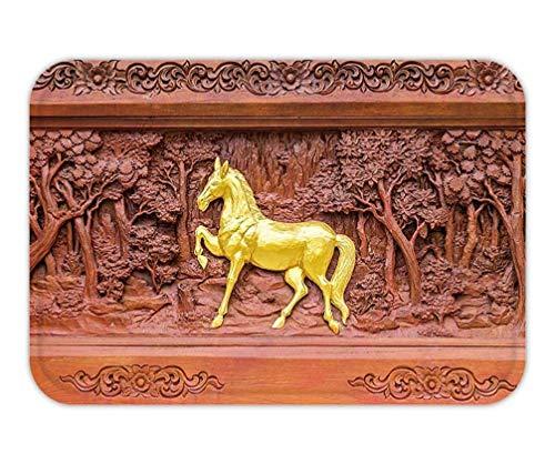 Jingailicenseco Bath Rug/Mat, Doormat Horse Wood carvings in Thai Land]()