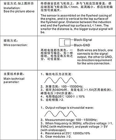 KUS magnetoelectric Tacho Sensor RPM remitente