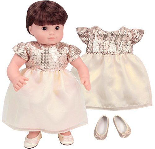 Sophias 15 Inch Baby Doll Special Occasion Dress Yellow Toned Ivory and Gold Sequin Dress with Matching Shoes fits 15 Inch Bitty Baby Dolls