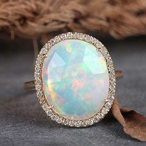Genuine Pave Diamond 2.93 Ct Opal Gemstone Cocktail Ring Solid 14k Yellow Gold Wedding Fine Jewelry Christmas Gifts