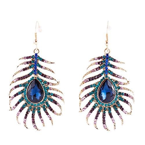 - Frogwill Womens Crystal Hook Earrings Sparkling Rhinestone Peacock Feather Dangle Earrings