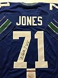 """Autographed/Signed Walter Jones """"HOF 14"""" Seattle Seahawks Blue Football Jersey JSA COA"""