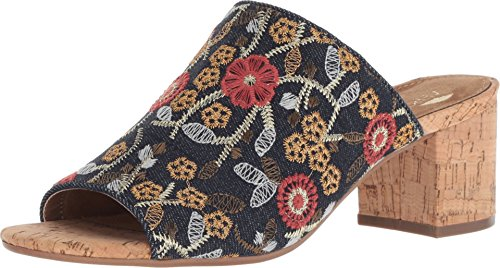 Aerosoles Womens Mid Level Fabric Open Toe Mules, Denim Combo, Size 9.5 (Heel Denim Mule)
