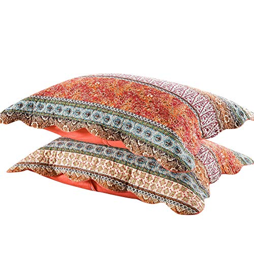 mixinni Red Bohemian Style Jacquard Style Cotton Linen Standard Quilt Shams 2 Pieces 20