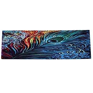 nicholco pluma de pavo real rojo ladrillo impresión antideslizante Felpudo salón alfombra para suelo alfombra, poliéster, 3#, grande