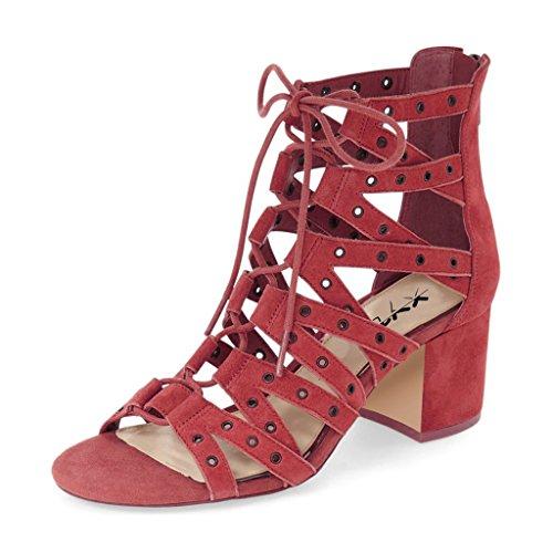 Sandali Gladiatore Strappy Alla Moda Xyd Open Toe Con Lacci Alla Caviglia E Tacchi Bassi Per Donna Rosso