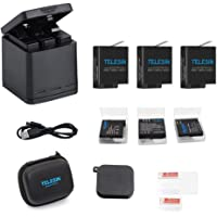 TELESIN Triple Charger Battery Kit, Battery Storage Charging Box with 2 Battery Pack Rechargeable Battery Replacement for GoPro Hero 2018, Hero 7 Hero 6 Hero 5 Black Action Camera (Charging Box+3 Battery)