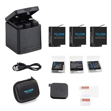 TELESIN Triple Charger Battery Set-Charging Box + 3 baterías con estuches de almacenamiento, cubierta de lente de la cámara, y lente Film 6 en 1 Kit ...