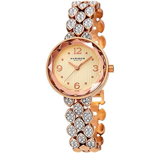 (Akribos XXIV Swarovski Crystal Studded Women's Watch – Rose Gold Link Bracelet Strap and Small Round Polished Alloy Case Accents - AK839RG)