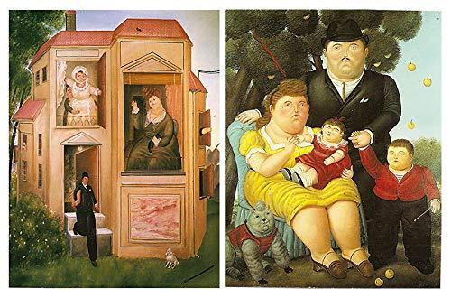 Cuadros Artista Botero sobre Madera Set de 2 Unidades de 19 cm x 25 cm x 4 mm unid Adhesivo FACIL COLGADO Adorno Decorativo Decoracion Pared hogar