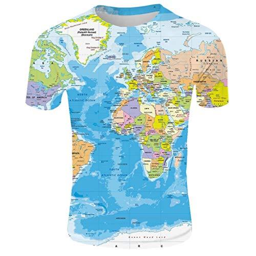 Beautyfine Men's Summer 2019 3D Printed Short Sleeves T-Shirts Comfort Top Dark Blue]()