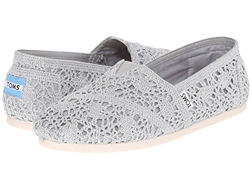 TOMS Women's Crochet Classic Slip-on (5 B(M), SILVER CROCHET METALLIC) ()