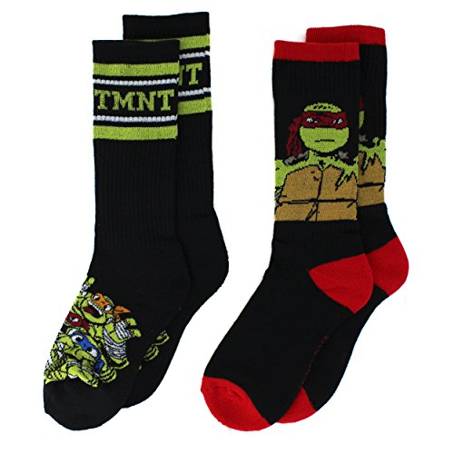 Teenage Mutant Ninja Turtles Socks (TMNT Teenage Mutant Ninja Turtles Boys 2 pack Crew Socks (6-8, TMNT Black))