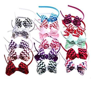 Yiho Pack of 10 Girls Wedding Headband Ribbon Grosgrain Hairband Ribbon