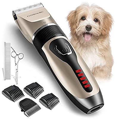 CLEEBOURG Dog Clippers Grooming Kit, Professional Electric Pet Clipper Low Noise Rechargeable Cordless Pet Trimmer for Dogs Cats Pets
