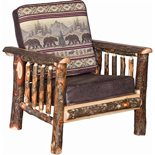 Rustic Hickory Log Faux Leather Living Room Chair - Golden Fabric
