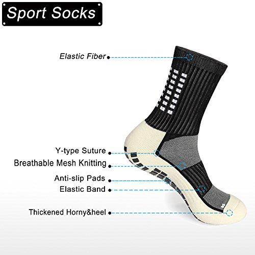 Calcetines antideslizantes unisex, deportivos, algodón suave, gruesos, transpirables, elásticos, 3 pares, color negro y blanco, Black-1 Pair, 4-11…