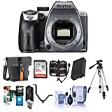 Pentax K-70 24MP FHD Digital SLR Camera Body Silver - Bundle w/32GB SDHC U3 Card, Holster Case, Spare Battery, Tripod, Cleaning Kit, Memory Wallet, Card Reader, Triple Shoe V Bracket, Software Pack
