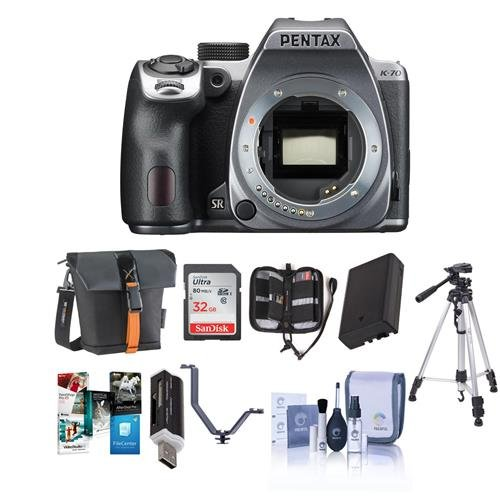 Pentax K-70 24MP FHD Digital SLR Camera Body Silver - Bundle w/32GB SDHC U3 Card, Holster Case, Spare Battery, Tripod, Cleaning Kit, Memory Wallet, Card Reader, Triple Shoe V Bracket, Software Pack Aa Silver Holster Pack