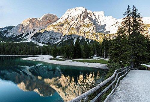 Laminated Poster: Lake Bergsee Panorama Nature Park Dolomites Mountain Lake Alpine Mountains Wallpaper Hd