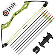 The7boX Kids Compound Bow and Arrow Set 6-14 lbs Adjustable Archery Bow Sets with Fiberglass Arrows Youth Teen