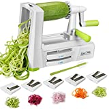 NUNEWARES Spiralizer Vegetable Slicer (Zucchini Spaghetti Maker, Vegetable Spiralizer) Upgraded Zoodle Maker & Noodle Maker for Low Carb/Paleo/Gluten-Free, With 5-Blade, Blade Caddy, Cleaning Brush