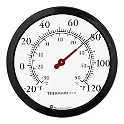 Bjerg Instruments 12 Steel Enclosure Decorative Indoor/Outdoor Patio Wall Thermometer (Black)