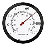 12'' Steel Enclosure Decorative Indoor/Outdoor Patio Wall Thermometer (Black)