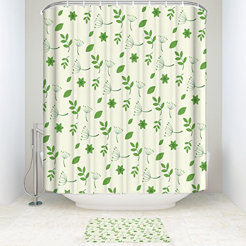 Fresh Off The Boat Costume (EZON-CH Customize Extral Long Large Waterproof Fresh Green Leaves Print Polyester Fabric Home Hotel Apartment Bathroom Shower Set Shower Curatin With Doormat Rugs 72x78IN)