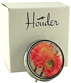 Designer Pill Box by Houder - Decorative Pill Case with Gift Box - Carry Your Meds in Style (Orange Daisy)