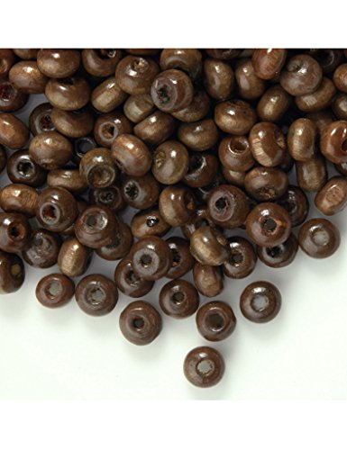 FreshHear Pack of 1410 Painted Wood Round Spacer Beads Color Brown Bead Size 4.0-5.9mm Hole Size 1.0-1.9mm Brown Round Beads