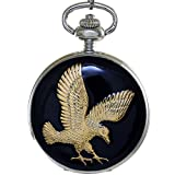 Ogle Vintage Mens Women 3D Eagle Stereo Relief Emboss Statue Chain Skeleton Mechanical Movement Analog Hand Wind Half Hunters Fob Pocket Watch (Silver Black)