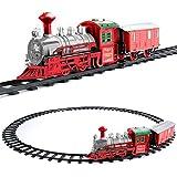 Bakaji Trenino Natalizio Per Sottoalbero Treno Elettrico Per Base Albero Di Natale Con Luci Vagone Colore Rosso e Bianco Decorazioni Natalizie