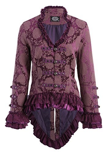Elegant Purple Victorian Tail Jacket with Lace Embellishments (US 18)