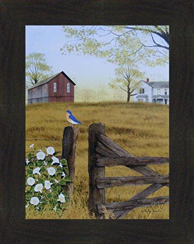 Morning's Glory by Billy Jacobs 16x20 Bluebird Bird Fencepost Gate Barn Farm Flowers Framed Folk Art Wall Décor Picture