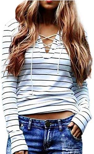 Camiseta de Mujer, Manga Larga Elegante Raya Impresión Blusa y Camisa Cuello en v Basica Camiseta Moda Suelto Verano Tops Casual Fiesta T-Shirt Original vpass: Amazon.es: Ropa y accesorios