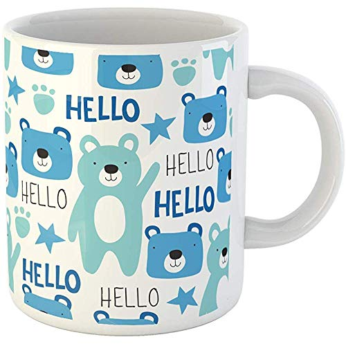 Funny Gift Coffee Mug Blue Adorable Teddy Bear Pattern Colorful Animal Beautiful Beauty Boy Cartoon 11 Oz Ceramic Coffee Mug Tea Cup Souvenir