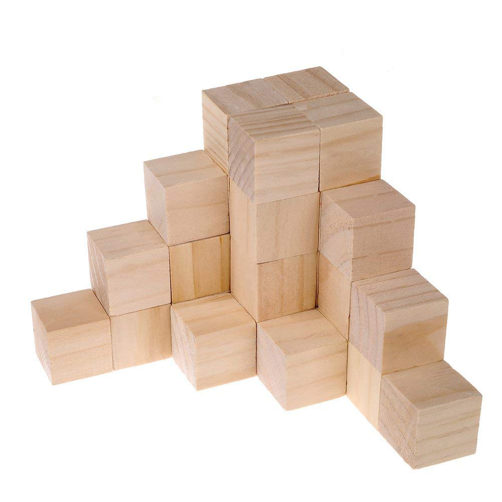 Supla 49pcs 1.5 Inch - Natural Solid Wood Square Blocks Wood Cubes Wood Cube Blocks– For Puzzle Making, Crafts, And DIY Projects (49pcs)