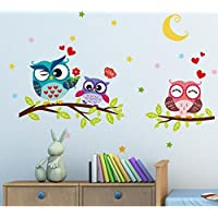 """BIBITIME Night Moon Star Sky Etiqueta de la pared Amor Familia Búhos en la rama de árbol Etiqueta de la pared para el dormitorio de Nursery Kids Room Decor, 25.19 """"x 16.92"""""""