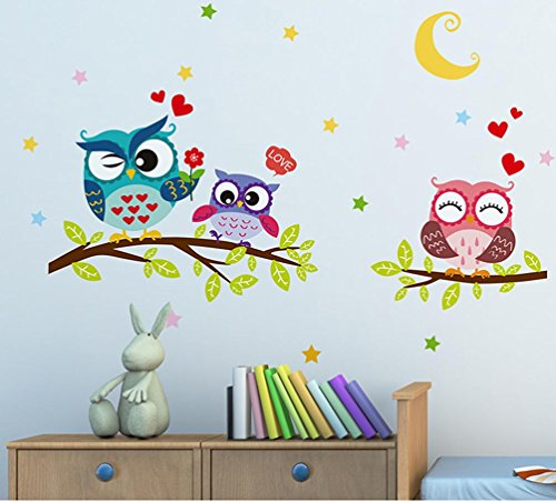 - BIBITIME Night Moon Star Sky Wall Sticker Love Family Owls on the Tree Branch Wall Decal for Nursery Bedroom Kids Room Decor,25.19