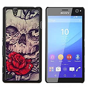 "Be-Star Único Patrón Plástico Duro Fundas Cover Cubre Hard Case Cover Para Sony Xperia C4 E5303 E5306 E5353 ( Rose Red Skull Vignette Espada Roca"" )"