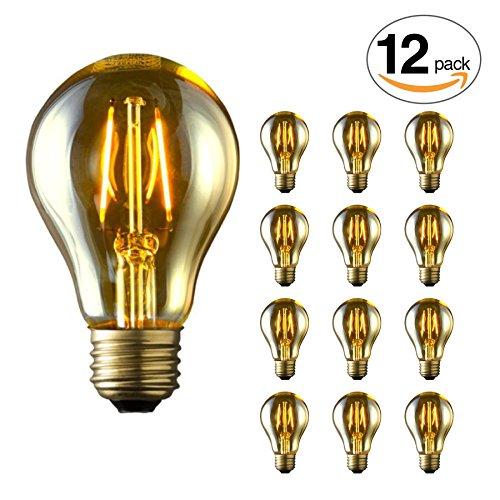 12-Pack ARCHIPELAGO Dimmable LED Filament Vintage Victorian A19 Light Bulb, 2 Watt, Medium Standard Base (E26), 2200K (Amber Glow), Omnidirectional, UL Listed