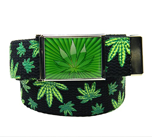 Build A Belt® Marijuana Starburst Flip Top Men's Belt Buckle with Canvas Web Belt Medium Weed Print