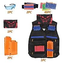 Kids Tactical Vest Kit for Nerf Guns N-Strike Elite Series, Tactical Vest Jacket with Refill Darts& Reload Clips& Face Tube Mask& Protective Glasses& Hand Wrist Band