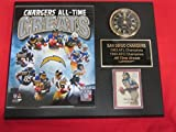 San Diego Chargers All Time Greats Collectors Clock Plaque w/8x10 Photo and Card