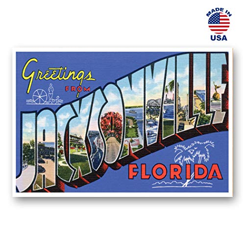 GREETINGS FROM JACKSONVILLE, Florida vintage reprint postcard set of 20 identical postcards. Large Letter Jacksonville, FL city name post card pack (ca. 1930's-1940's). Made in USA. (Stores Jacksonville Fl)