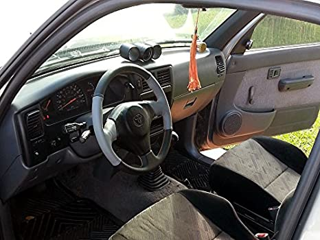 Amazon.com: RedlineGoods Steering Wheel Cover Compatible with Toyota Supra 1993-02. Black Leather-Blue Thread: Automotive