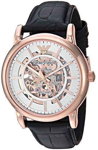 Emporio Armani Men's 'Dress' Japanese Automatic Stainless Steel and Leather Casual Watch, Color:Black (Model: AR60007)