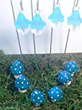 Fairy garden 10 piece set. Blue hanging fairy lights and blue miniature mushrooms. Fairy garden accessories.